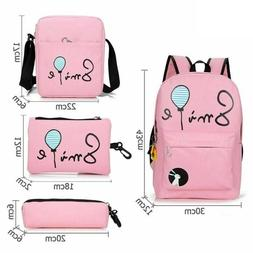 10pcs Set Cute Printed Waterproof Backpack Travel Shoulder B