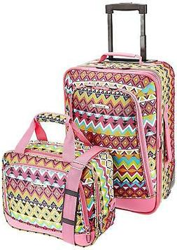 "2-Piece Expandable Luggage Set Girls 9"" Carry-On Upright Fli"