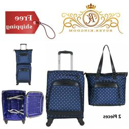 """2 Piece Set Luggage Set Laptop Tote Bag 20"""" Carry On Navy Bl"""