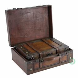 2 Set Steamer Trunk Suitcase Stripes Old Fashioned Luggage L