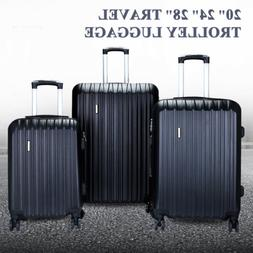"""20"""" 24"""" 28"""" Set of 3 Luggage Set Travel Bag ABS Trolley Spin"""