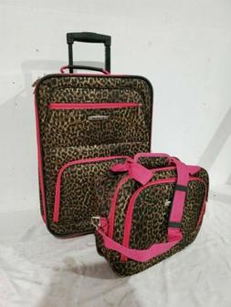 $240 New Rockland 2 PC Carry On Luggage Set Rolling Wheel Su