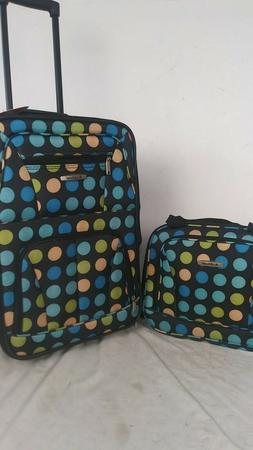 $240 New Rockland 2 Piece Carry On Luggage Set Rolling Suitc