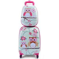 "Goplus 2Pc 12"" 16"" Kids Carry On Luggage Set Upright Hard Si"