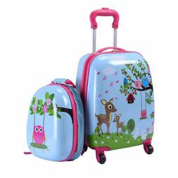 "2Pc 12"" 16"" Kids Luggage Set Suitcase Backpack School Travel"