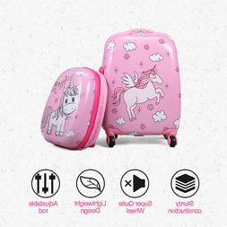 2PC Kids Carry On Luggage Set Hard Shell Suitcase Backpack T