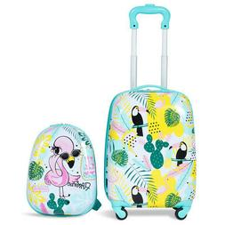 2PC Kid Luggage Set 12'' Backpack & 16'' Rolling Trolley Sui