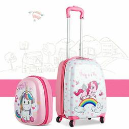 2PC Kids Luggage Set 12'' Backpack & 16'' Rolling Suitcase f