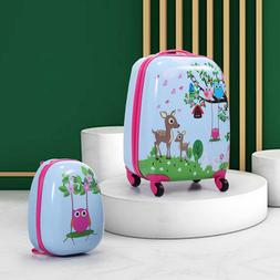 Tobbi 2PcKids Carry On Luggage and Backpack Upright Hard Sid