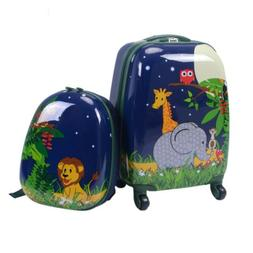 """2PCS 12"""" 16"""" Kids Travel School Luggage Suitcase Backpack Tr"""