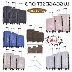 "20"" 24"" 28"" 3 Pieces Luggage Set Travel Bag ABS Trolley Spin"