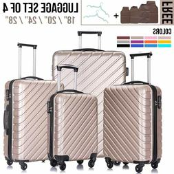 3 / 4 PC Luggage Set Travel Bag Trolley ABS Spinner Hard She