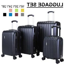 1/3/4Pcs Travel Luggage Set Bag Trolley Spinner Suitcase ABS