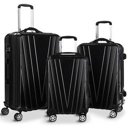 3 pcs Black ABS Luggage Set Travel Multi Directional Mute Wh