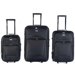 3 pcs Black Rolling Carry-On Travel Expandable Suitcase Lugg
