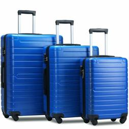 3 Piece ABS Luggage Sets Light Travel Case Hardshell Suitcas