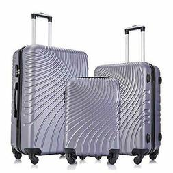 Apelila 3 Piece ABS Luggage Sets with Spinner Wheels Hard Sh