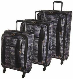 3 piece expandable spinner luggage set grey