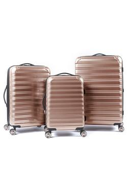 3 Piece Hardside Rose Gold Women's Luggage Set Durable Spinn