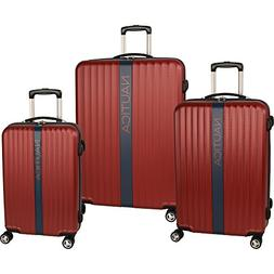 Nautica 3 Piece Hardside Spinner Luggage Set, Burgundy/Navy