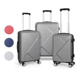 3-Piece Hardside Travel Luggage Set with Spinner Wheels Ligh