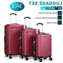 3 Piece Luggage Hard-side Spinner Travel Bag Storage Organiz
