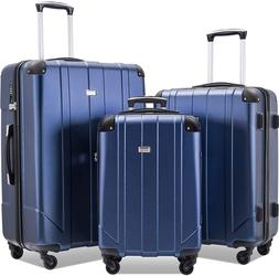 3 Piece Luggage Safari Expandable Roll Luggage Set, Blue TSA