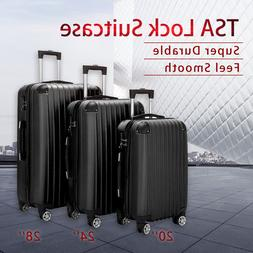 3 Piece Luggage Set ABS Trolley Suitcase Spinner Hardshell L