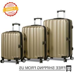 """3 Piece Luggage Set 21"""" 25"""" 28"""" ABS+PC Trolley Suitcase Spin"""