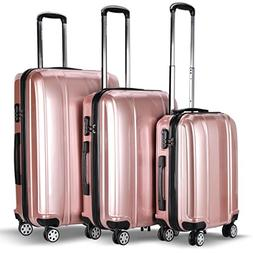 Goplus 3 Piece Luggage Set Hard Rolling Suitcases Carry On f
