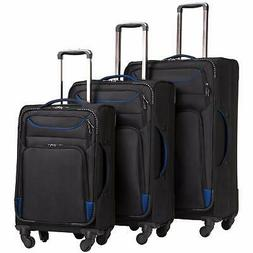 3 Piece Luggage Set Premium Soft Side Spinner Suitcase Trave