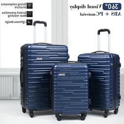3 Piece Luggage Set Travel Suitcase Blue ABS+PC Nested Spinn