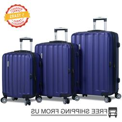 Dejuno 3 Pcs Luggage Travel Set Bag ABS Trolley Suitcase w/T