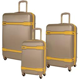 Tommy Bahama 3 Piece Spinner Luggage Set, Taupe Yellow