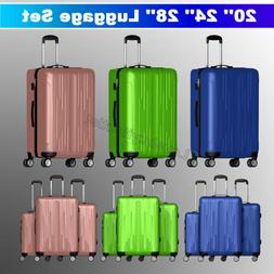 3 Pieces Luggage Set Travel Bag ABS Trolley Spinner Suitcase