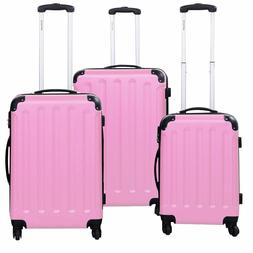 3 PCS Pink Luggage Set Bag Trolley Hard Shell Travel Suitcas