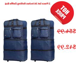 """36"""" XL Expandable Rolling Wheeled Duffel Bag Spinner Duffle"""