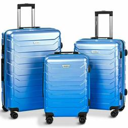 3pcs Expandable Luggage Travel Set ABS Trolley Spinner Suitc