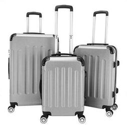 3Pcs Luggage Travel Set Bag PC + ABS Trolley Spinner Suitcas