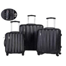 3Pcs Luggage Travel Set Bag w/TSA Lock ABS Trolley Spinner C