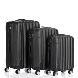 3PCS Luggage Travel Set Bags ABS Trolley Hard Shell Suitcase