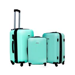 Ahmik 3pcs Set Travel Luggage Classic Green Spinner Suitcase