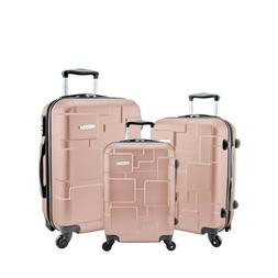 Ahmik 3pcs Set Travel Luggage Stone Rose Gold Spinner Suitca