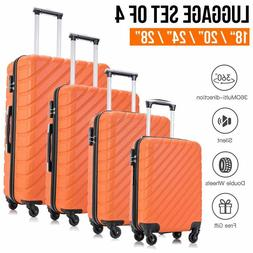 4PCS Suitcase Sets Luggage Travel Bag Trolley Spinner ABS Bu