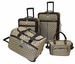 4-Piece Luxurious Travel Set Family Bags Luggage Brown Handl