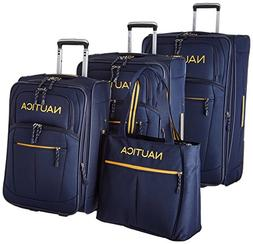 Nautica 4 Piece Spinner Luggage Set, Navy/Yellow