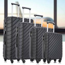 4 Pieces Luggage Set Hardside Spinner Suitcase ABS Travel Ca
