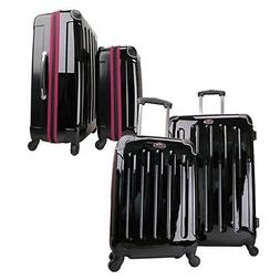 Swiss Case 4 Wheel Spinner 2 PC Luggage Set Black & Purple H