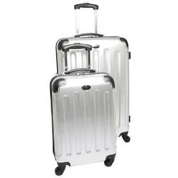 Swiss Case 4 Wheel Spinner ABS 2 PC Luggage Set SILVER Hards