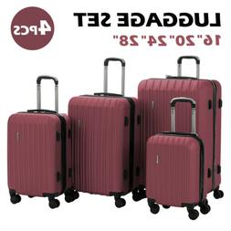 4PCS Luggage Travel Set ABS Spinner Bag Suitcase w/ Lock Red